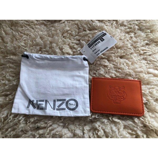 Kenzo Kartenetui mit Prägung Orange Leder NEU OVP