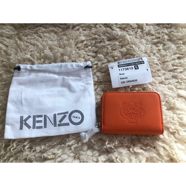 Kenzo Portemonnaie mit Label-Prägung Orange Leder NEU OVP