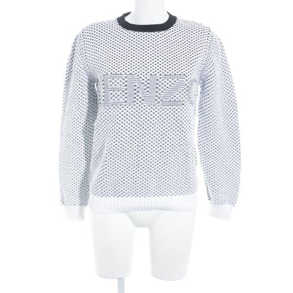 Kenzo Rundhalspullover schwarz-weiß Webmuster Street-Fashion-Look