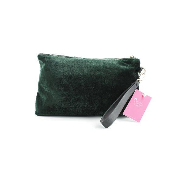 Kiomi Beuteltasche waldgrün Samt-Optik