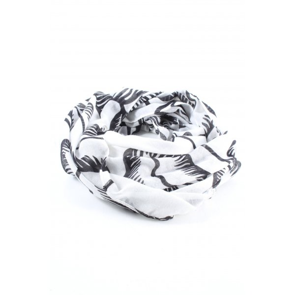 Kiomi Rundschal weiß-schwarz abstraktes Muster Casual-Look