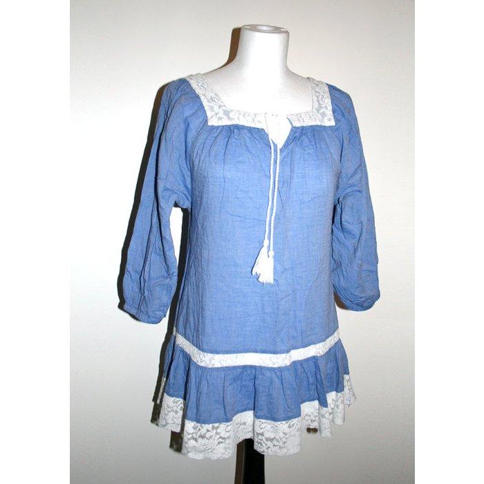 Kleid Blau/weiß, Spitze, Gr. 34