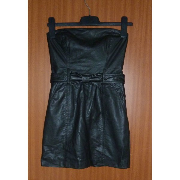 Kleid Kunstleder Party sexy schwarz Leder Gr. 34 S Zara
