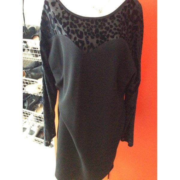Kleid mit Aermeln, vorder u. Rückseite aus Netz mit Animalprint in 52