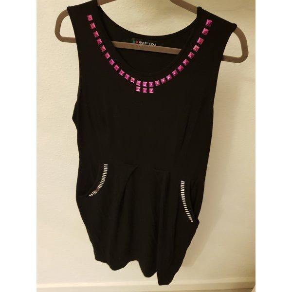 Kleid schwarz mit pinken und weißen Steinen