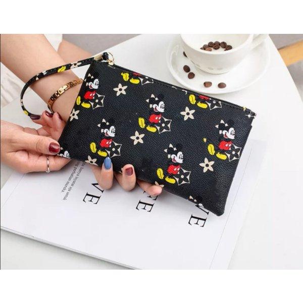 Kleine Mickey Mouse Maus Kosmetik Tasche schwarz Kunstleder NEU