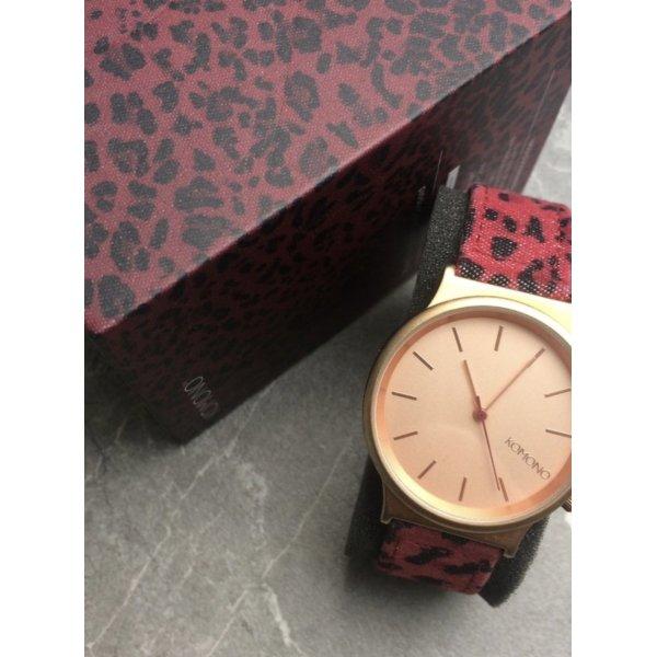 Komono Blogger Uhr Wizard Print Series Red Leo Muster Armbanduhr Pink rosegold