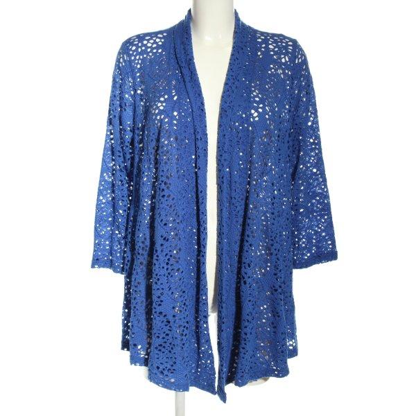 Kriss Sweden Blouse Jacket blue weave pattern casual look