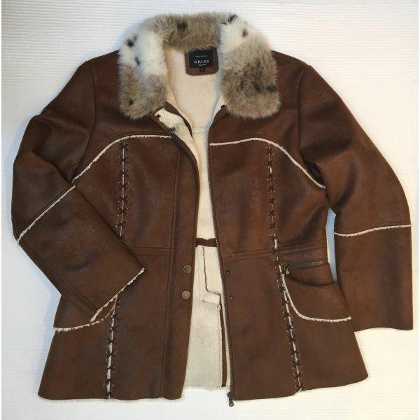 KRISS Sweden kuschelige Jacke im  Look mit faux fur Gr. L, Boho Stil