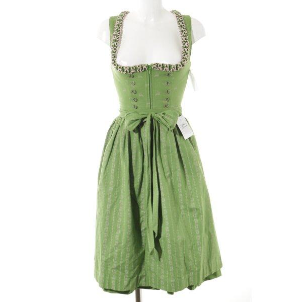 Krüger Dirndl grün-hellrosa florales Muster klassischer Stil