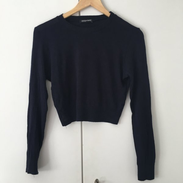 Kurz geschnittener Pullover von American Apparel, dunkelblau, Größe M