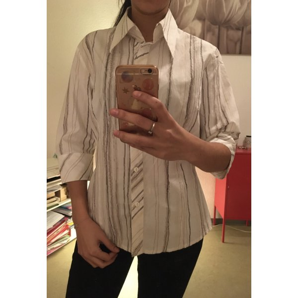 Kurzarmhemd weiß gestreift Casual-Look