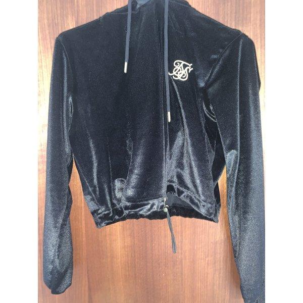 Kurzer schwarzer velvet Pullover