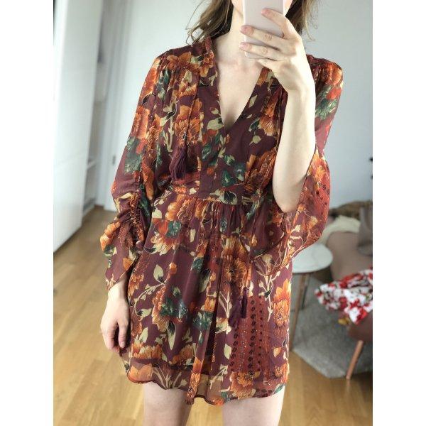 Kurzes Kleid mit dunklem Blumenmuster, Gr. 38
