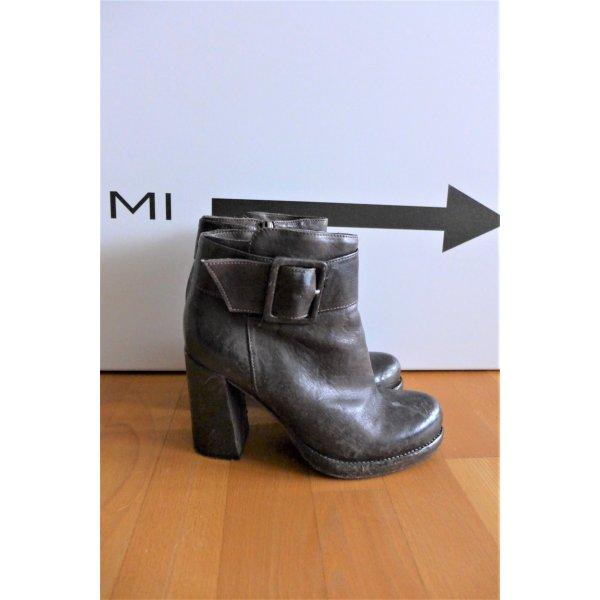 La Bottega di Lisa Schuhe Blockabsatz Stiefelette Bootie Leder braungrau Gr. 38,5