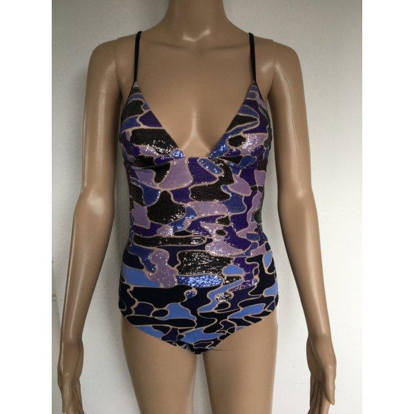 La Perla, Badeanzug Make Love, blau-lila gemustert, paillettenbesetzt, 70 B (34/ It. 1), neu, € 1.320,-.