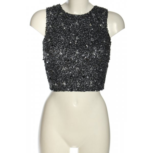 Lace & Beads Cropped Top schwarz-silberfarben Elegant