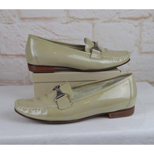 Lack Schuhe Loafer Sioux Größe 6 College Pumps 39 Slipper Schnalle Mokkasin Beige Grün Leder
