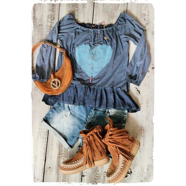 Tuniekblouse blauw-korenblauw