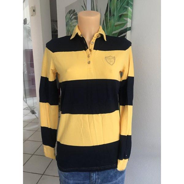 Langarm-Poloshirt mit goldenen Knöpfen * Blockstreifen * Größe S 36/38