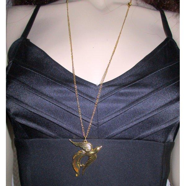 Lange Halskette goldfarben mit Anhänger Schwalbe feine Gleiderkette Modeschmuck