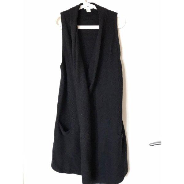 Lange, schwarze, ärmellose Strickwese, H&M, XS/ S, neuwertig
