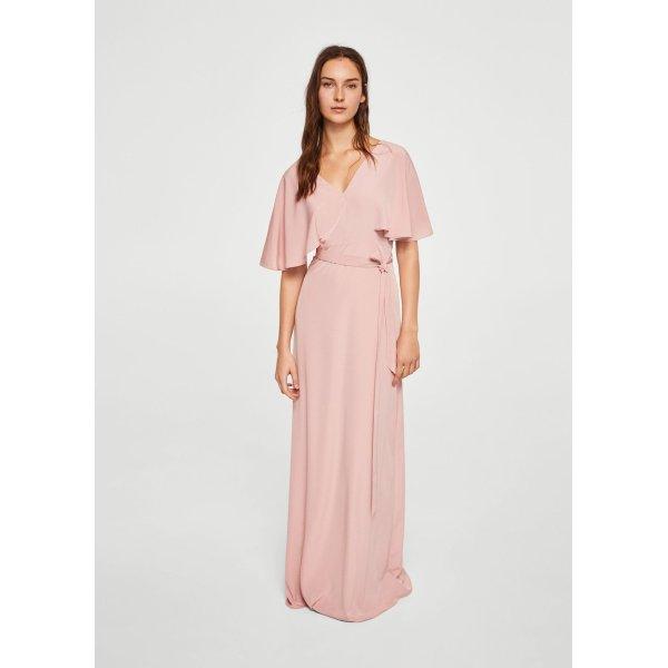 Langes Kleid mit Schleife, altrosa, L