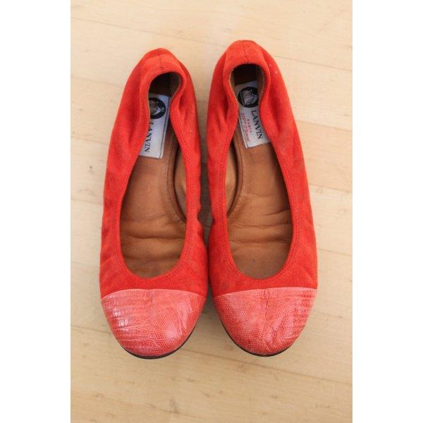 Lanvin Ballerinas, Wildleder, rot, rosa, Größe 37,5