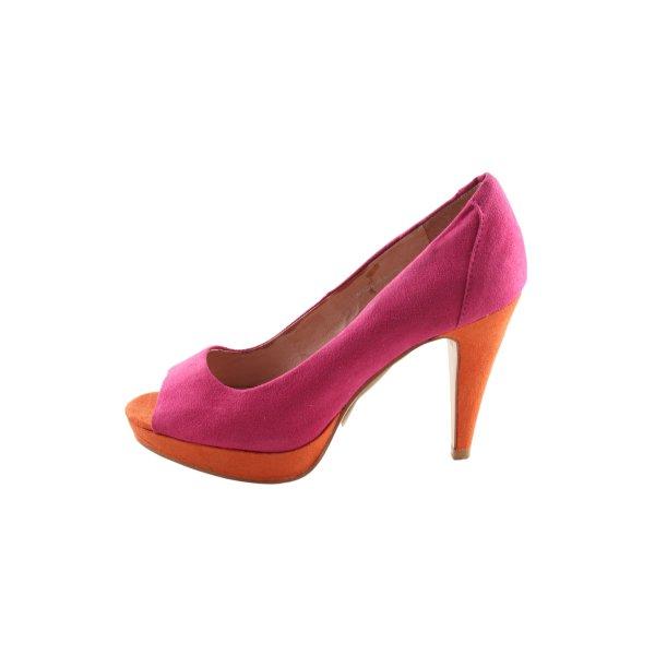 Laura Milani Peeptoe Pumps pink-hellorange Elegant