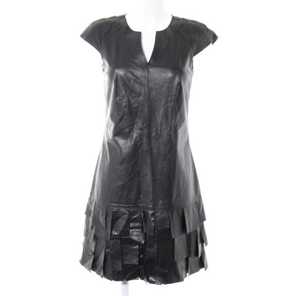 Laurèl Lederkleid schwarz Elegant