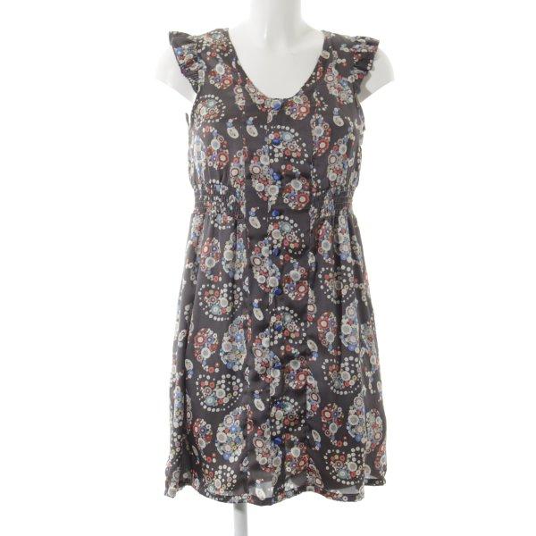 Lavand Kurzarmkleid anthrazit-ziegelrot Blumenmuster Street-Fashion-Look