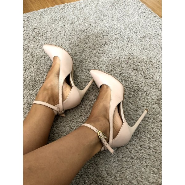 Leather nude pumps with Swarovski Crystal Size 38
