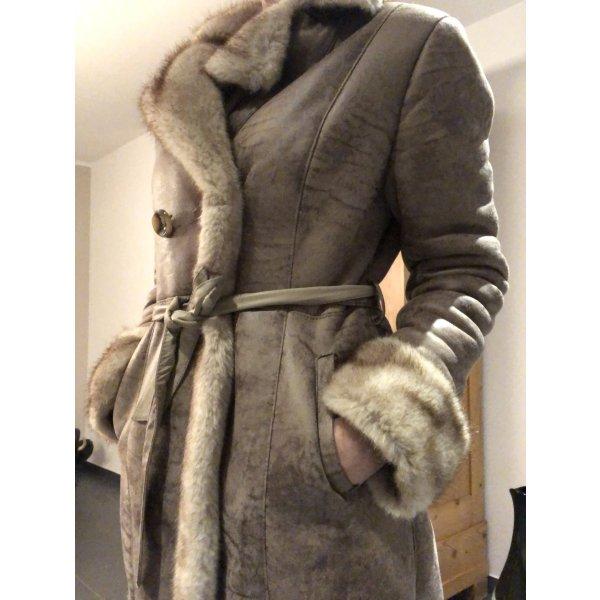 "Leder- / Pelzmantel ""Fake Fur ""in beige / braun"