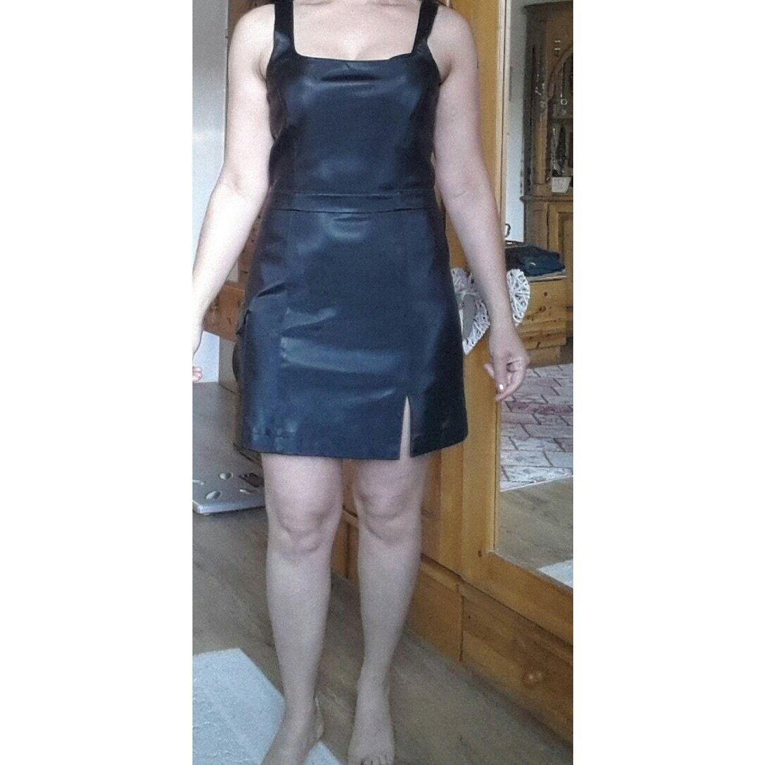 Lederimitat Kleid mit Lycra Gr.38