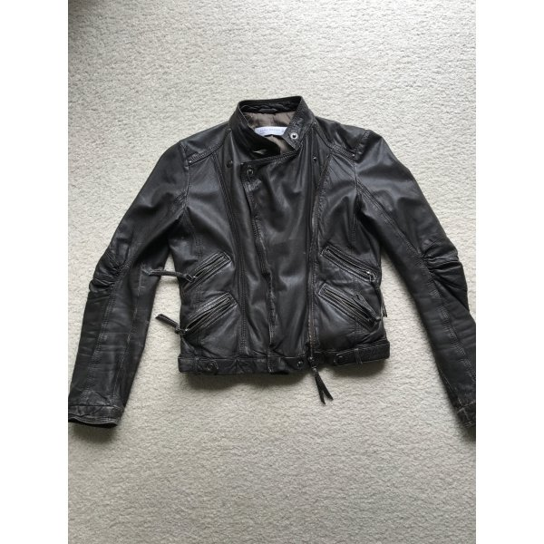 Zara Veste en cuir brun noir