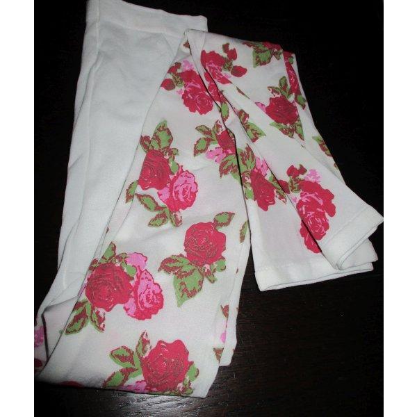 Legging Leggings Leggin weiß Blumenmuster Muster Rose rot pink grün florales Muster edel XS S 34 36 Neu