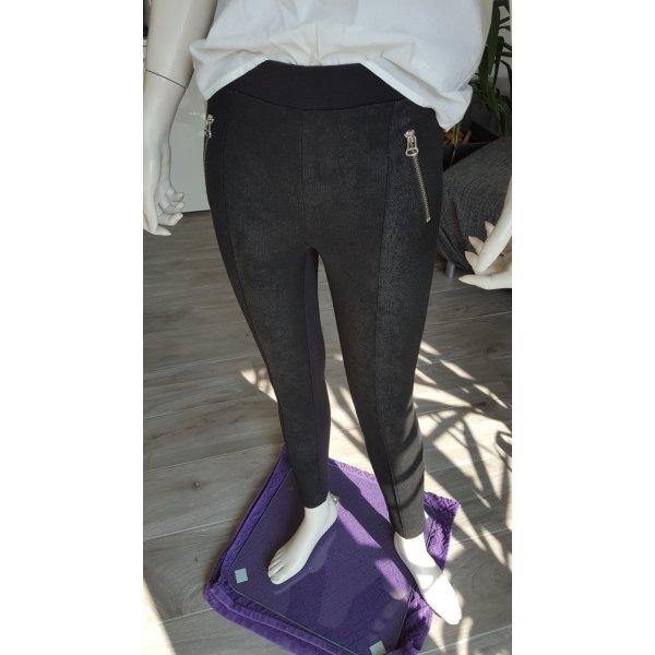 H&M Leggings negro-color plata
