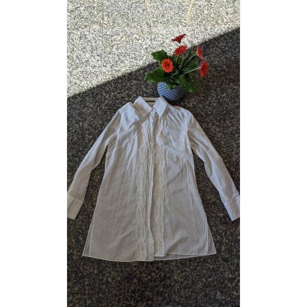 Leichte Sommer Long Bluse mit Seitlichen Schlitzen Gr. 42 (40) weiss mit Stickerei