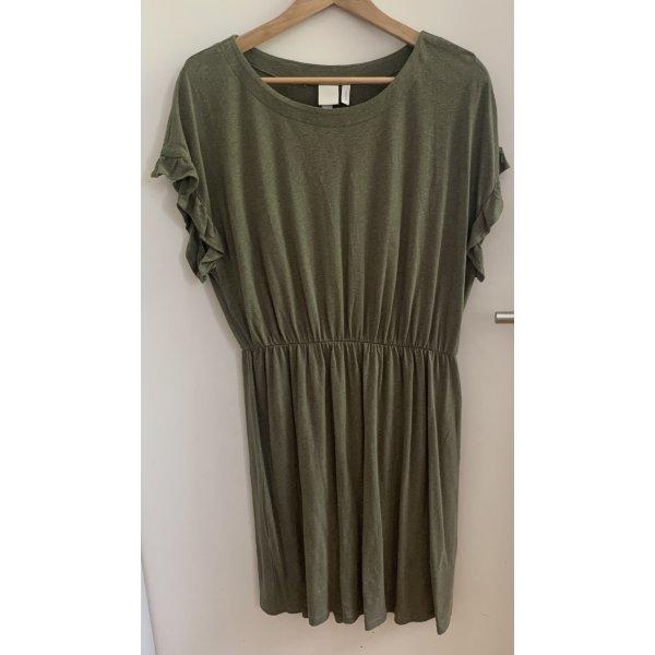 H&M Shortsleeve Dress khaki linen