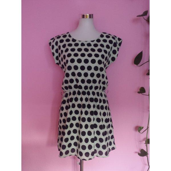 *Letzter Preis* Kleid, Polka Dots, Spitze in schwarz/beige (Box 6)