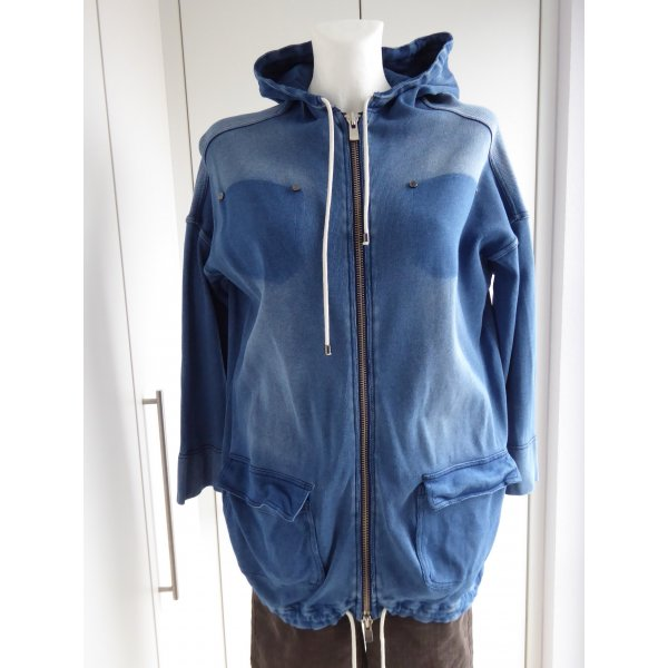 Stefanel Chaqueta de tela de sudadera azul Algodón