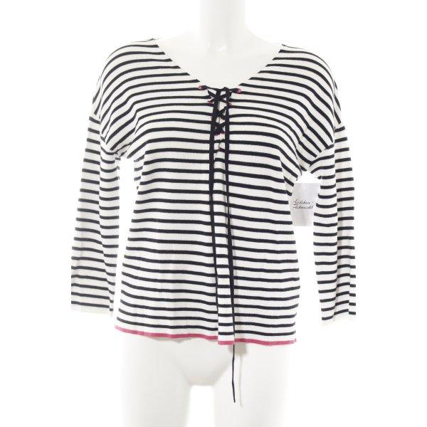 Lieblingsstück V-Ausschnitt-Pullover Streifenmuster Casual-Look