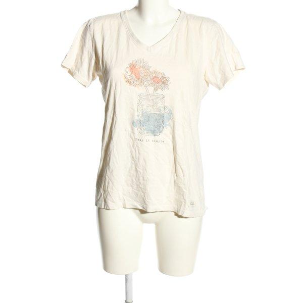 Life is Good V-Ausschnitt-Shirt creme Motivdruck Casual-Look