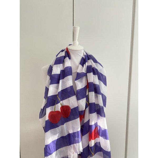 Lila/weiß gestreifter Schal mit roten Kirschen