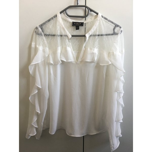 Lipsy London weiße Bluse mit Volants NEU