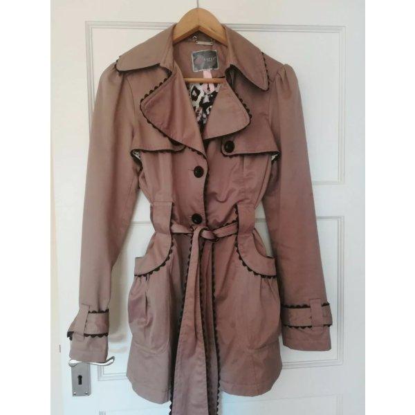 Lipsy Mac Trenchcoat beige schwarz 40 L Rüschenverzierungen Jacke Mantel