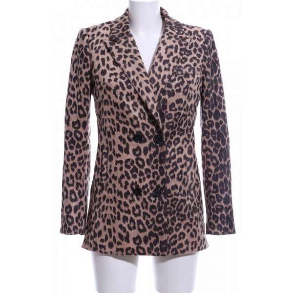 Loavies Long-Blazer creme-schwarz Animalmuster Party-Look