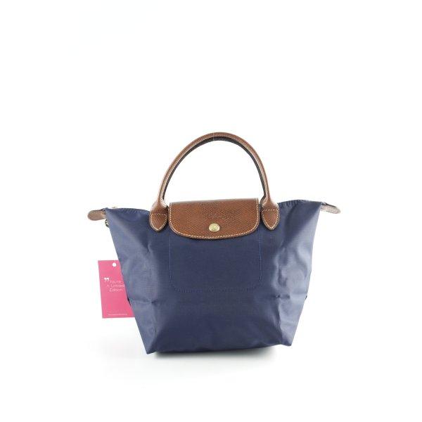 Longchamp Sac Baril bleu foncé-brun style décontracté