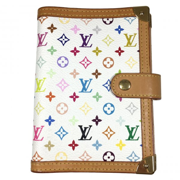 LOUIS VUITTON AGENDA FONCTIONNEL PM AUS MINI MONOGRAM MULTICOLORE CANVAS IN WEISS