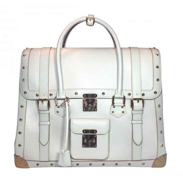 Louis Vuitton Weekendtas wit-goud Leer